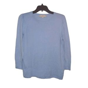 M LOFT Blue 3/4 Sleeve Pullover Sweater